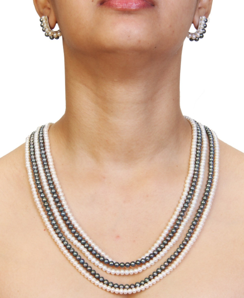 Black and white pearl necklace with Earrings